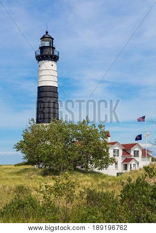 Built in 1867 Michigan's Big Sable Point Lighthouse stands tall over Lake Michigan in beautiful Ludington State Park.