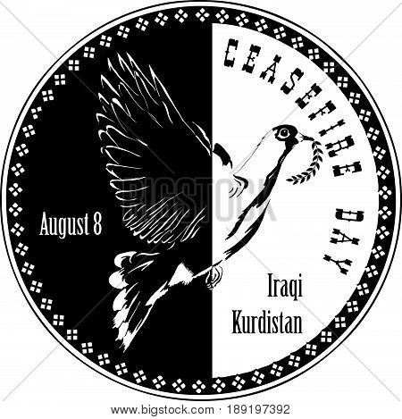 Ceasefire Day - August 8 - Iraqi Kurdistan. Stamp to the celebration of the event.