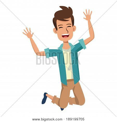 cartoon man enjoying traveler vacation funny vector illustration