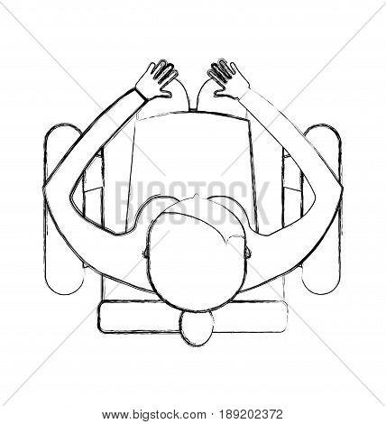 sketch draw top view women sitting cartoon vector graphic design