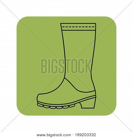 Rubber boots, protective shoes. Flat color icon or object of clothing to design.