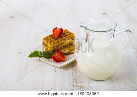 Belgian Waffles With Strawberry And Mint