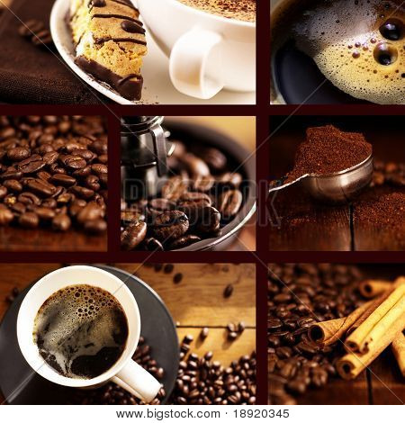 Coffee collage with brown background