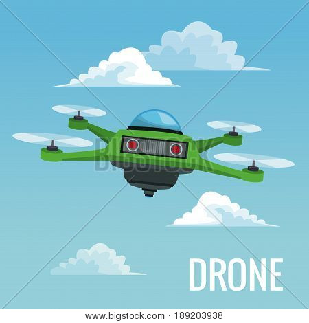 sky landscape background robot drone with four airscrew vector illustration