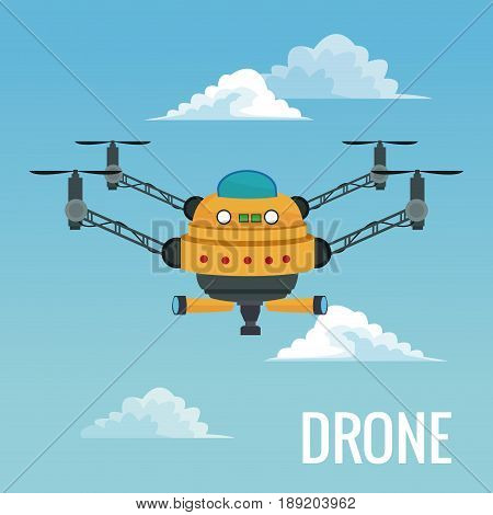 sky landscape background big robot drone with four airscrew and pair of telescope vector illustration