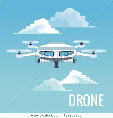 sky landscape background white modern robot drone with four airscrew and pair of telescope vector illustration