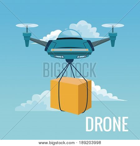 sky landscape background robot drone carrying box with pair of airscrew vector illustration