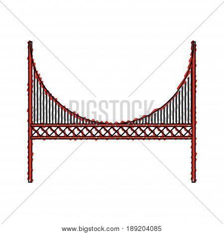 scribble red golden gate bridge cartoon vector graphi design