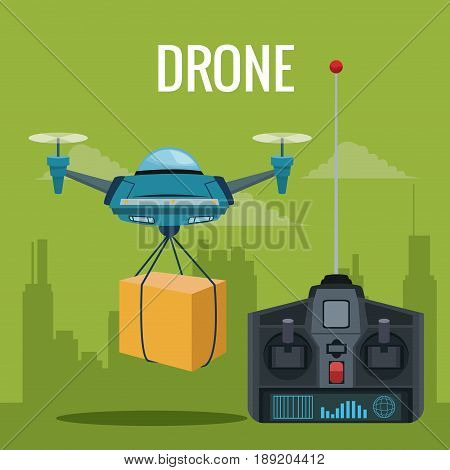 green scene city landscape set remote control and blue robot drone carrying box with pair of airscrew vector illustration