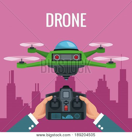 pink scene city landscape and people handle remote control with green robot drone with four airscrew vector illustration