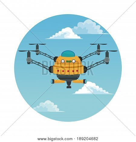 circular frame with sky landscape scene and yellow robot drone with four airscrew and pair of telescope vector illustration