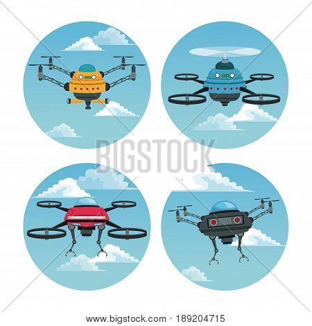 set circular frame with sky landscape scene and robot drone with airscrew vector illustration