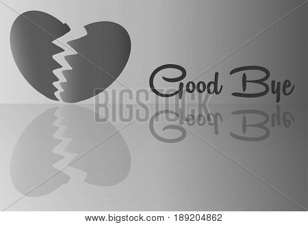Broken Heart With Good Bye Word For Abstract