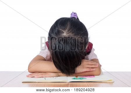 Frustrated Asian Chinese Girl With Head Down On The Table