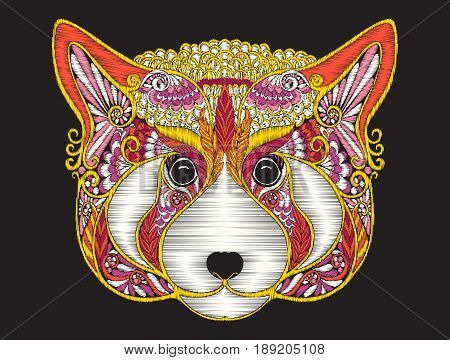 Embroidery ethnic patterned ornate head of red panda - fire fox. Stock vector illustration.
