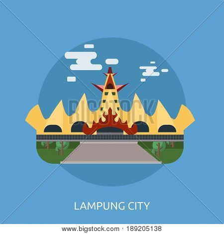 Lampung City of Indonesia Conceptual Design | Set of great flat design illustration concepts for city, indonesian, travel and much more.
