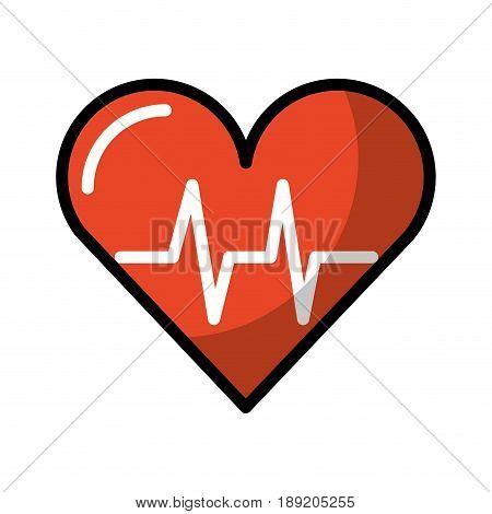 shadow heart beat pulse cartooon vector graphic design