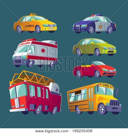 Cartoon collection of isolated icons of urban transport. Fire truck, ambulance, police car, school bus, taxi, private cars.