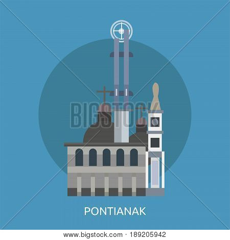 Pontianak City of Indonesia Conceptual Design | Set of great flat design illustration concepts for city, indonesian, travel and much more.