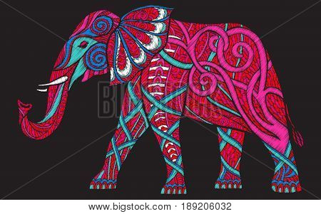 Embroidery ethnic patterned ornate elephant. Stock vector illustration.