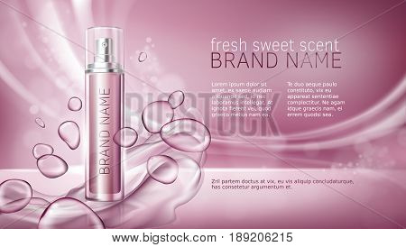 3D illustration poster with moisturizing cosmetic premium products, pink background with beautiful spray bottle and watery texture