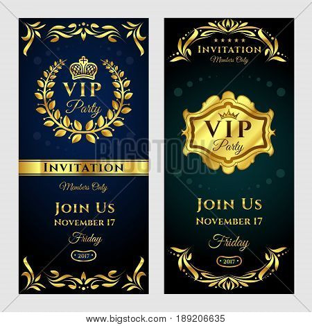 illustration set of vintage VIP-party invitation cards, flyers. Bright glowing invitation cards templates in black and gold colors.