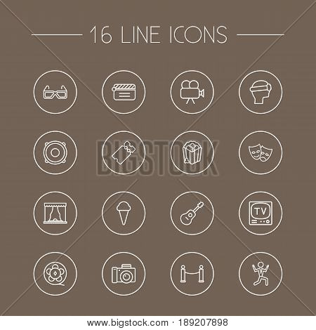 Set Of 16 Pleasure Outline Icons Set.Collection Of Ticket, Film Role, Tv Set And Other Elements.