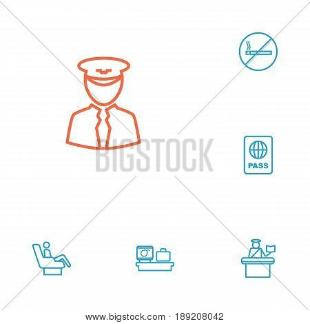 Set Of 6 Airplane Outline Icons Set.Collection Of Luggage Check, No Smoking, Certification And Other Elements.