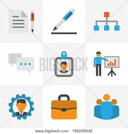 Job Flat Icons Set. Collection Of Group, Suitcase, Id Badge And Other Elements. Also Includes Symbols Such As Manager, Pen, Badge.