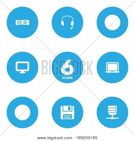 Set Of 6 Notebook Icons Set.Collection Of Show, Datacenter, Diskette And Other Elements.