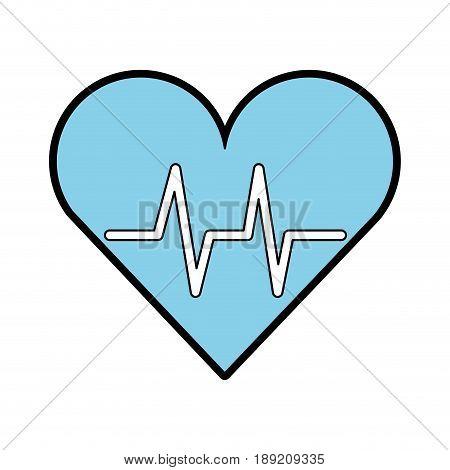 blue heart beat pulse cartooon vector graphic design