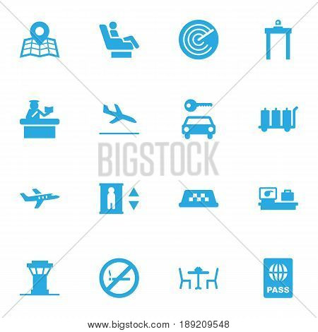 Set Of 16 Airplane Icons Set.Collection Of Location, Aircraft, Letdown And Other Elements.