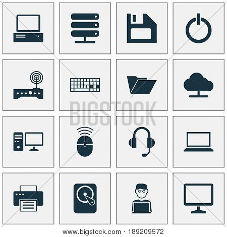 Computer Icons Set. Collection Of Router, Power On, Dossier And Other Elements. Also Includes Symbols Such As Printing, Keypad, Keyboard.