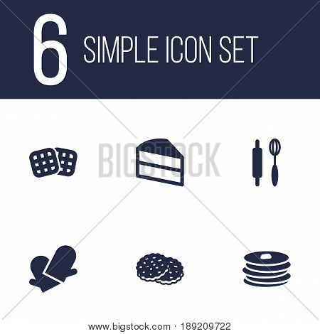 Set Of 6 Food Icons Set.Collection Of Shortcake, Pastry, Potholders And Other Elements.
