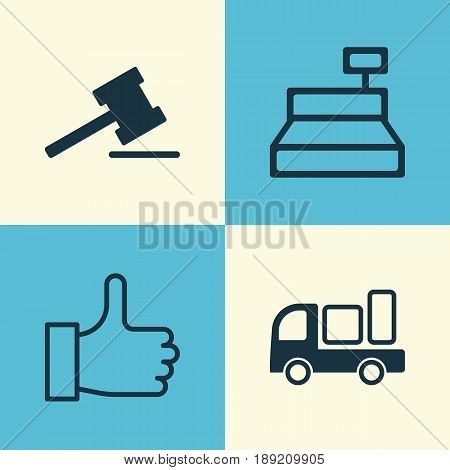 E-Commerce Icons Set. Collection Of Gavel, Delivery, Till And Other Elements. Also Includes Symbols Such As Gavel, Till, Cash.