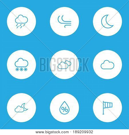 Meteorology Outline Icons Set. Collection Of Snow, Breeze, Drop And Other Elements. Also Includes Symbols Such As Fog, Cloudy, Percent.