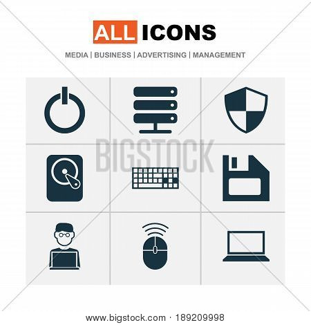 Gadget Icons Set. Collection Of Keypad, Database, Power On And Other Elements. Also Includes Symbols Such As Shield, Notebook, Mouse.
