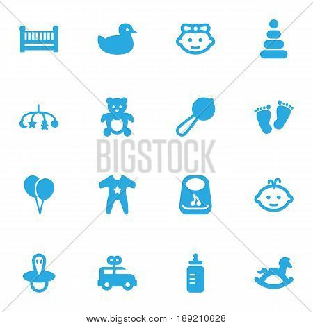 Set Of 16 Kid Icons Set.Collection Of Teat, Air Balloon, Bear And Other Elements.