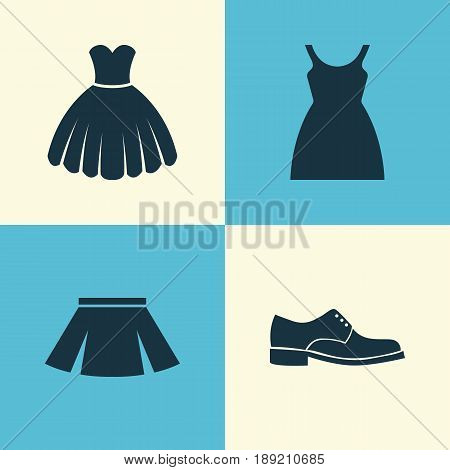Dress Icons Set. Collection Of Dress, Stylish Apparel, Elegance And Other Elements. Also Includes Symbols Such As Dress, Apparel, Skirt.