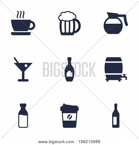 Set Of 9 Drinks Icons Set.Collection Of Alcohol, Cask, Hotdrink And Other Elements.