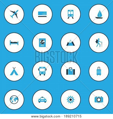 Traveling Colorful Icons Set. Collection Of Baggage, Bus, Photo Device And Other Elements. Also Includes Symbols Such As Bank, Photo, Aircraft.