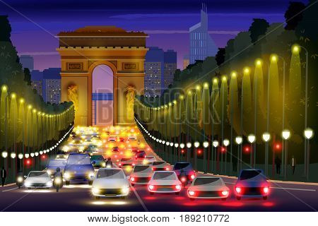 easy to edit vector illustration of city nightlife of Champs Elysees Street Paris, France