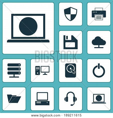 Device Icons Set. Collection Of Earphone, Dossier, Tree And Other Elements. Also Includes Symbols Such As Protection, Tree, Internet.