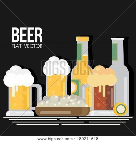 Bottle Of Beer With Glass, Flat Design Modern Vector Illustration.