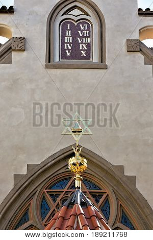 Separate details of the building of the synagogue in Prague