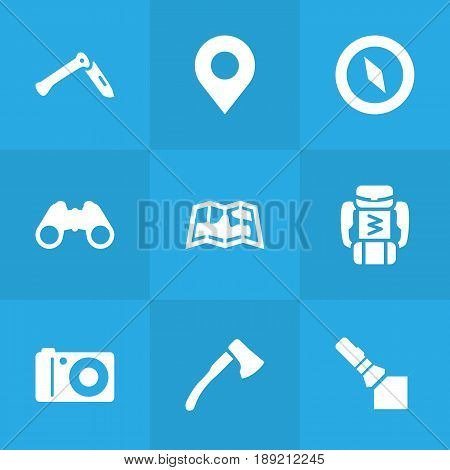 Set Of 9 Outdoor Icons Set.Collection Of Jackknife, Wood Axe, Backpack And Other Elements.