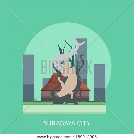 Surabaya City of Indonesia Conceptual Design | Set of great flat design illustration concepts for city, indonesian, travel and much more.
