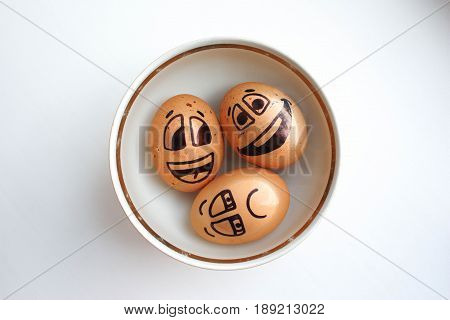 Egg With A Cheerful Painted Face. Photo