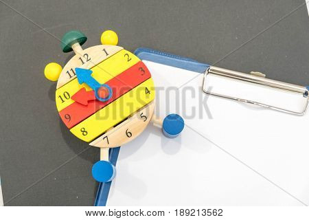 12 O'clock. Time Management Concept. Close-up Of Alarm Clock. Back To School. Banner For Change Your