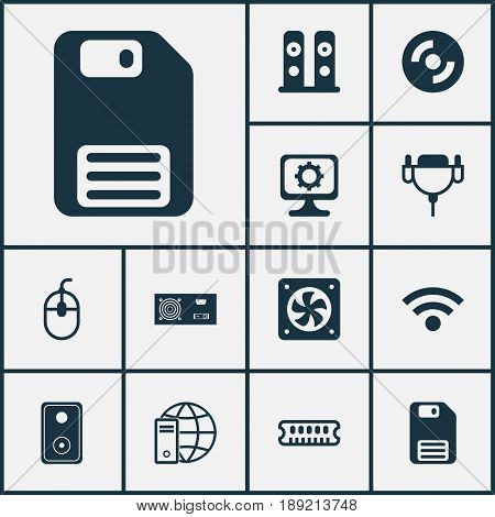 Computer Icons Set. Collection Of Internet Network, Dynamic Memory, Vga Cord And Other Elements. Also Includes Symbols Such As Cable, Audio, Wireless.